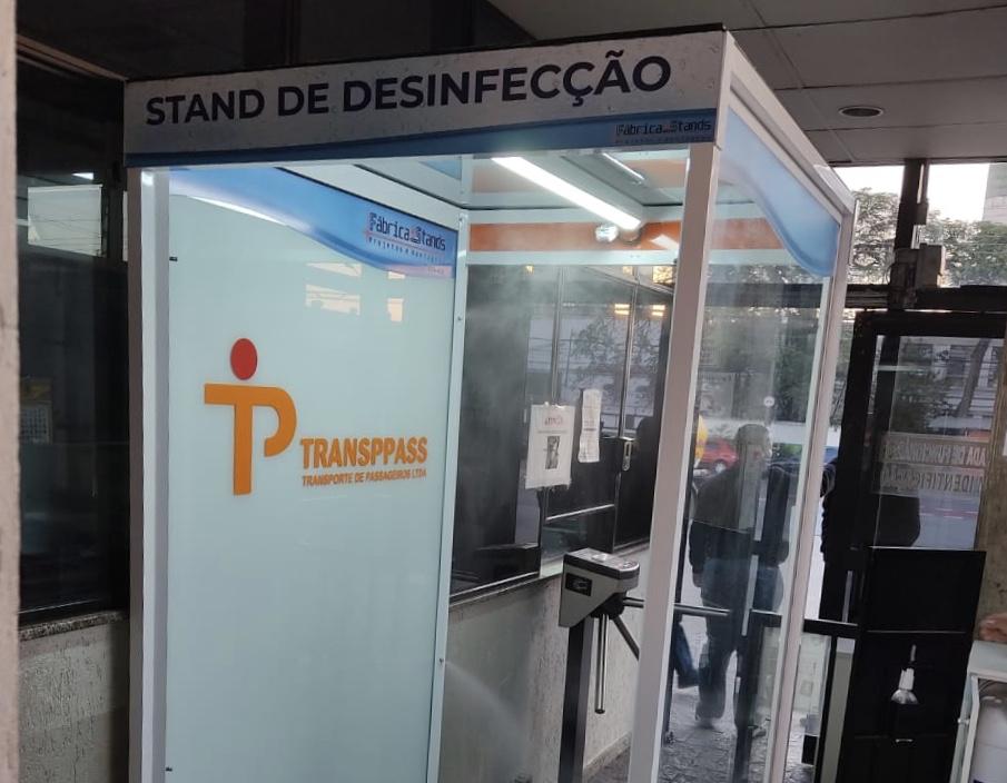 Dirigentes do Sindmotoristas têm solicitação atendida e stand de desinfecção é instalado na Transppass